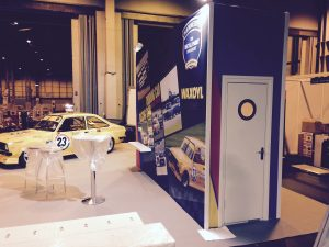 work in progress on the stand at the restoration & classic car show